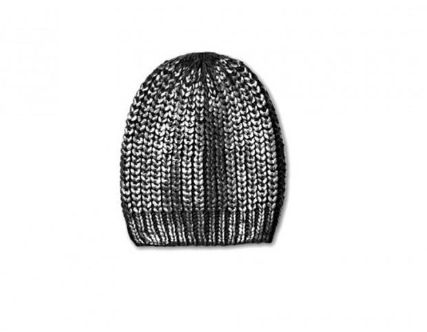 Beanie in maglia, spalmata effetto argento