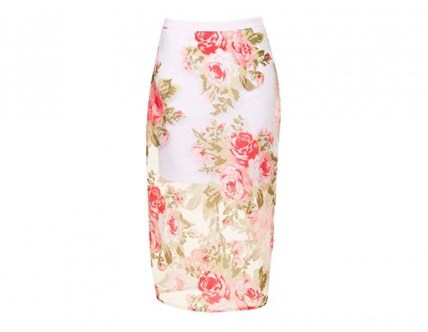 Pencil skirt con maxi-rose