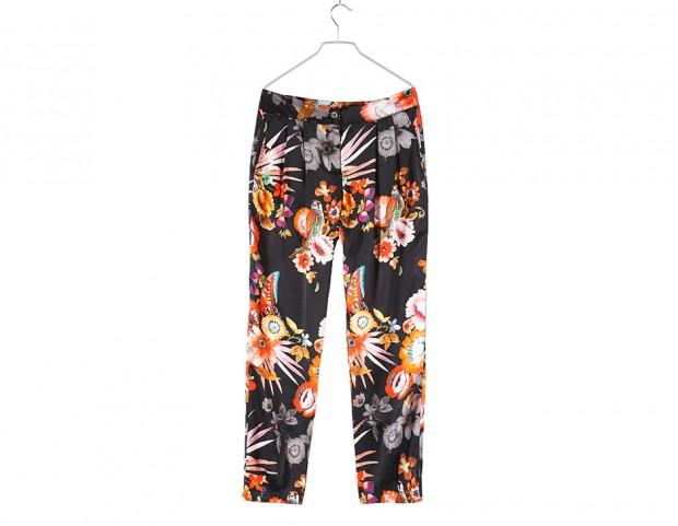 Pantaloni in seta con pinces