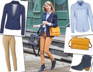 Taylor Swift: giacca blu, jeans skinny e tracolla senape