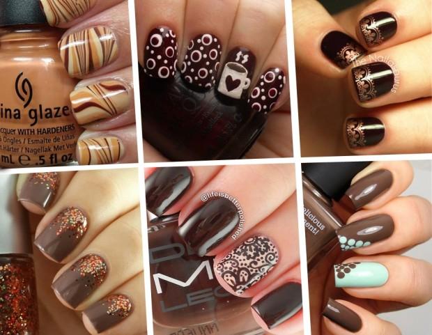 Unghie le nail art color cioccolato da Pinterest