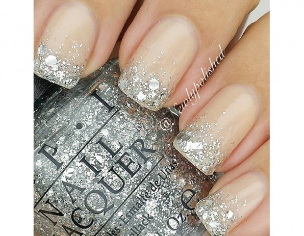 French manicure a tutto glitter
