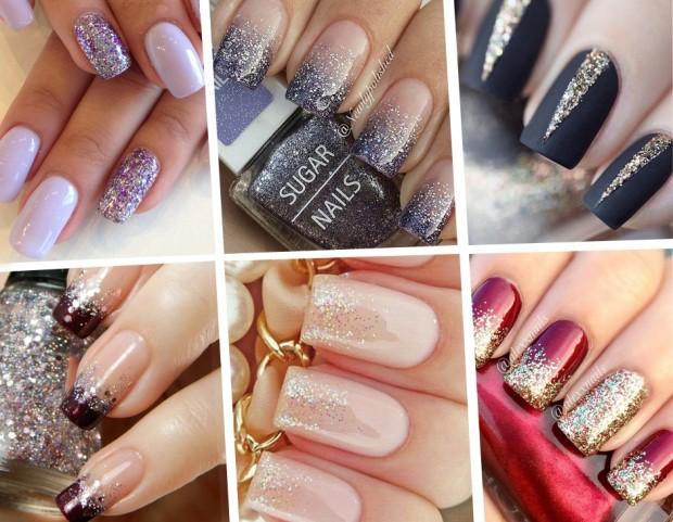 Unghie le nail art con glitter da Pinterest