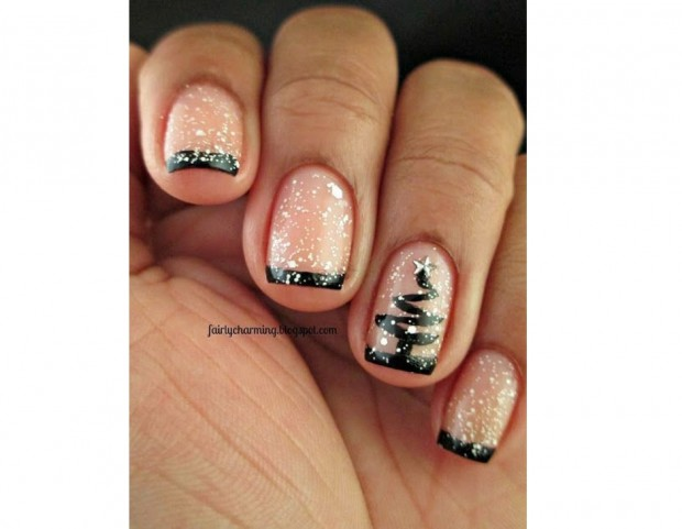 French manicure in nero con top coat glitter e albero di Natale