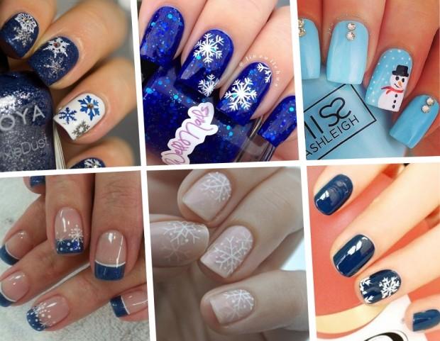 Unghie le nail art con fiocchi di neve più belle di Pinterest
