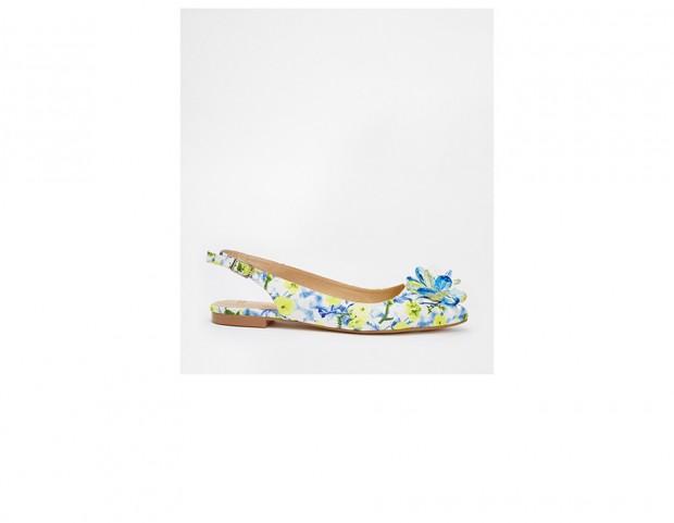 Slingback a fiori con applique