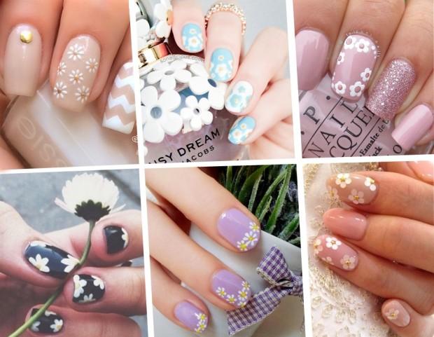 unghie le nail art con margherite più belle per la primavera tu style