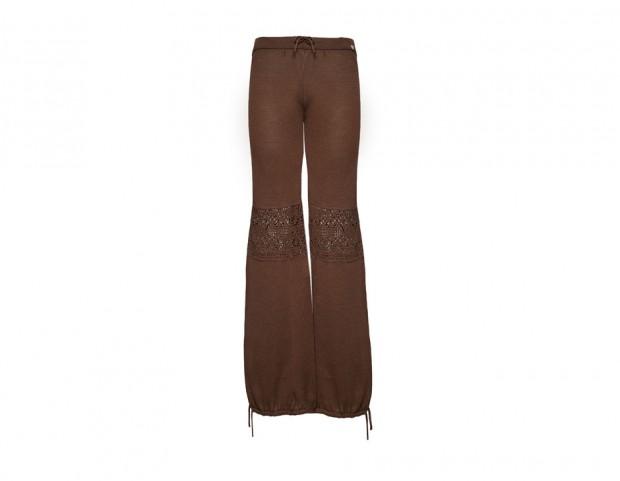 Pantalone in cotone con inserto pizzo uncinetto e lacci sulle cavaglie