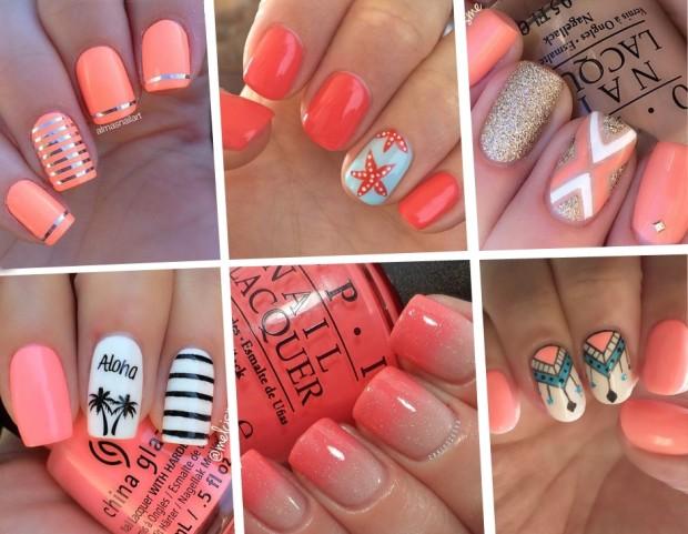 Le nail art corallo più belle da provare ora