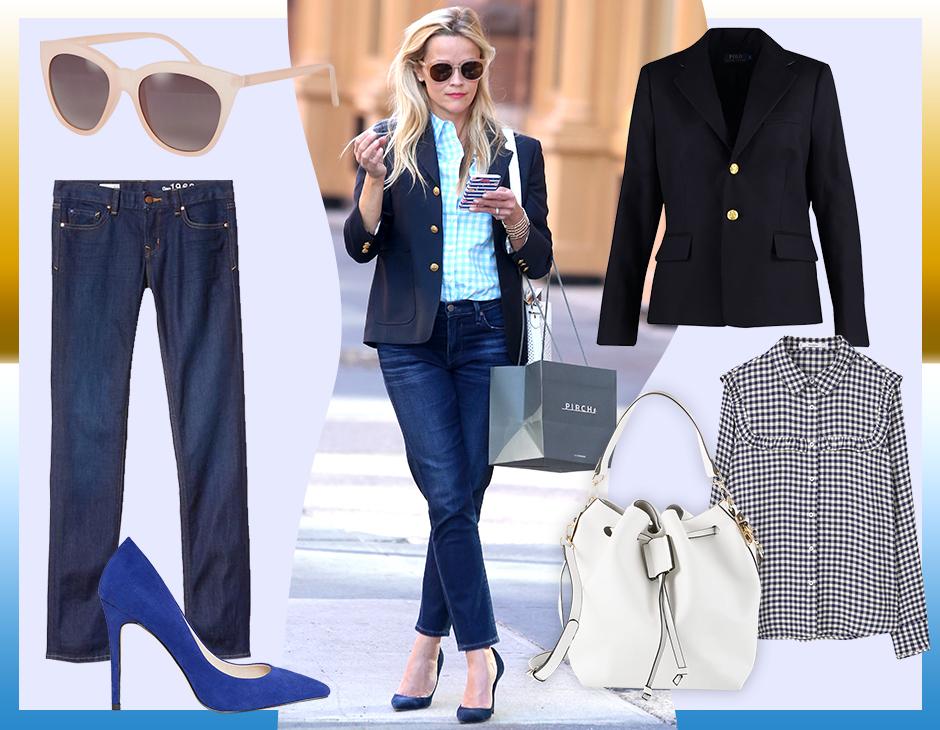 Segui le dritte di Reese Witherspoon che sfoggia un outfit easy-chic tutto  da copiare! (collage di Antonella Acquafredda) d6367a455598