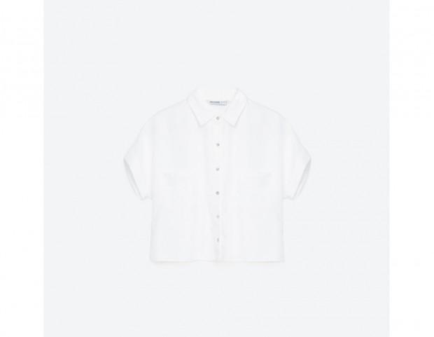 Camicia cropped a maniche corte