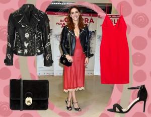 Miriam Leone: abito sottoveste, biker jacket e sandali sexy