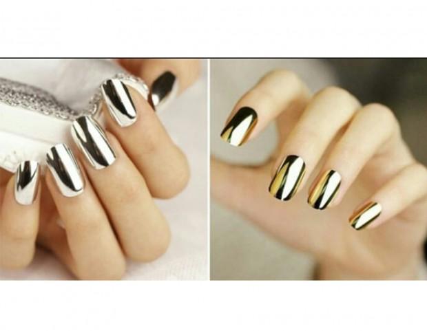 Polvere a effetto specchio da utilizzare sopra lo smalto - Polvere effetto specchio unghie ...