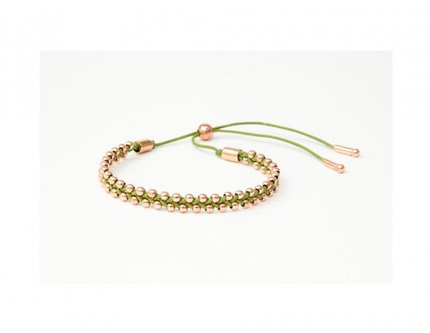 Bracciale in argento 925 e oro rosa con cordino verde