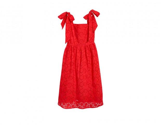Midi dress in pizzo rosso