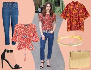 Jeans e blusa a fiori: copia il look fresco e glam di Lily Collins
