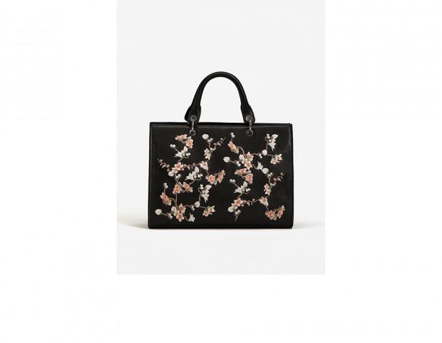 Shopper con ricamo floreale