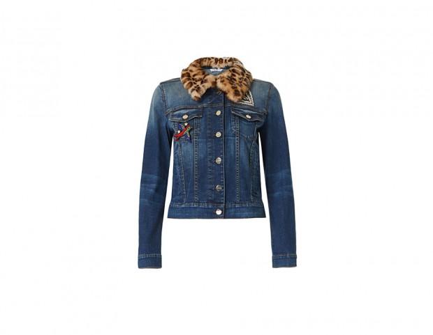 Giacca di jeans con colletto in pelliccia