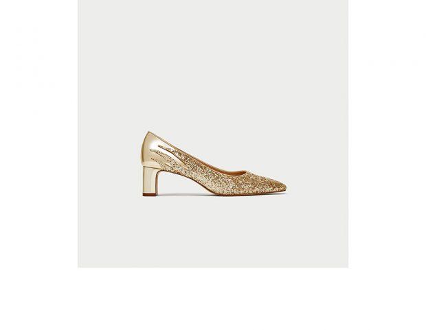 Pumps oro con glitter