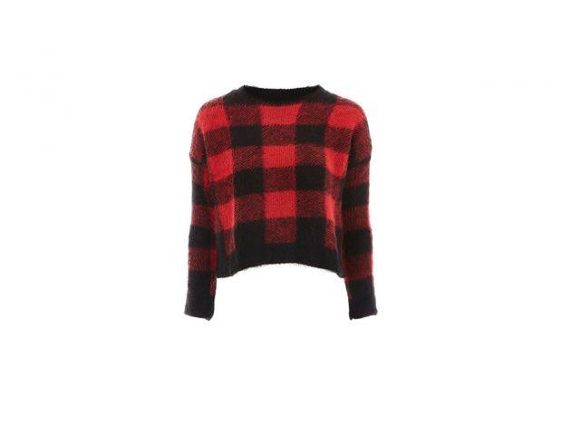 Pull corto in lana check