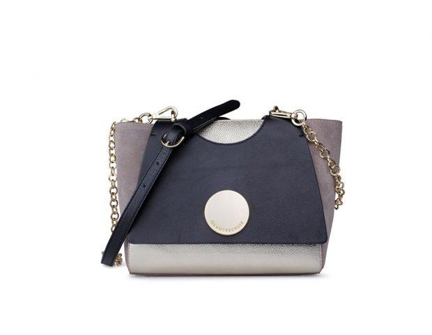 Mini bag in suede e pelle color-block