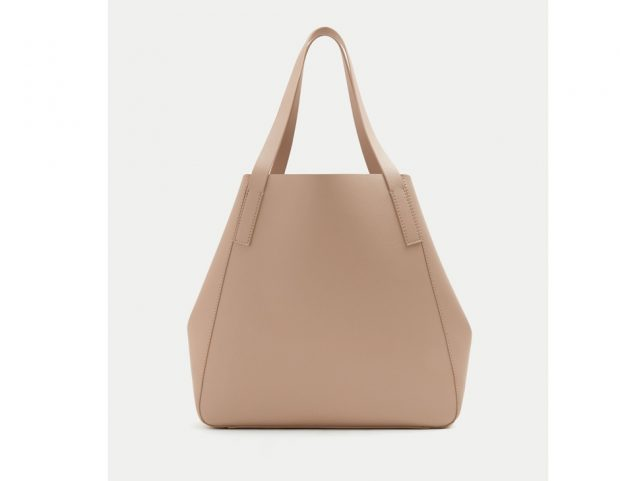 Shopper basic in pelle neutra