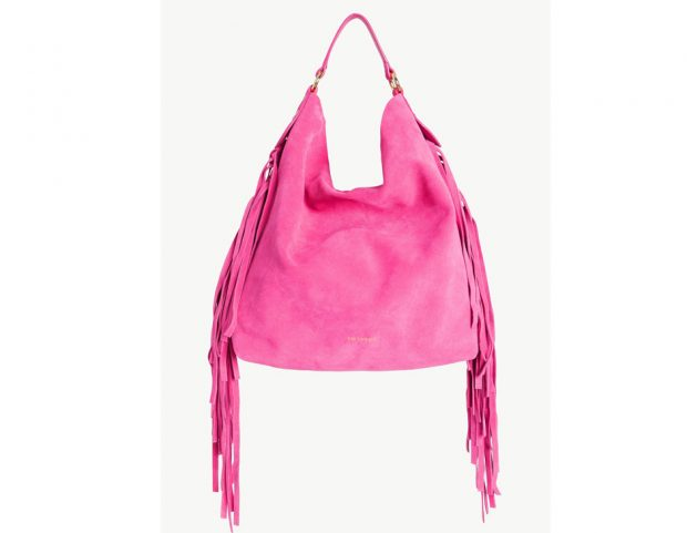 Hobo bag in suede con le frange