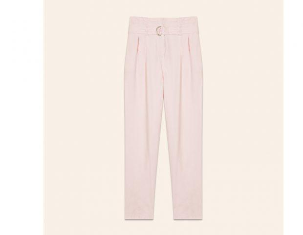 Pantaloni rosa con cintura in vita