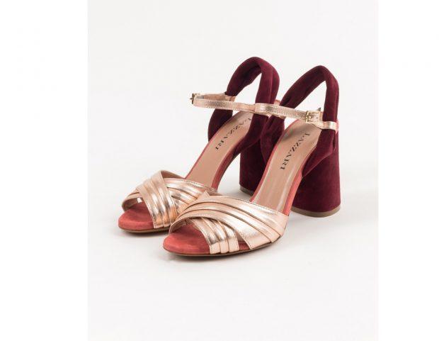 Sandali in velluto e pelle metallizzata