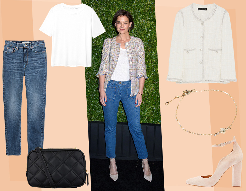wholesale sales first rate thoughts on Katie Holmes abbina con classe la giacca in tweed e i jeans