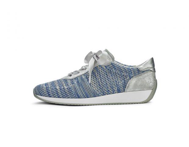 Sneakers con inserto in suede metallizzato