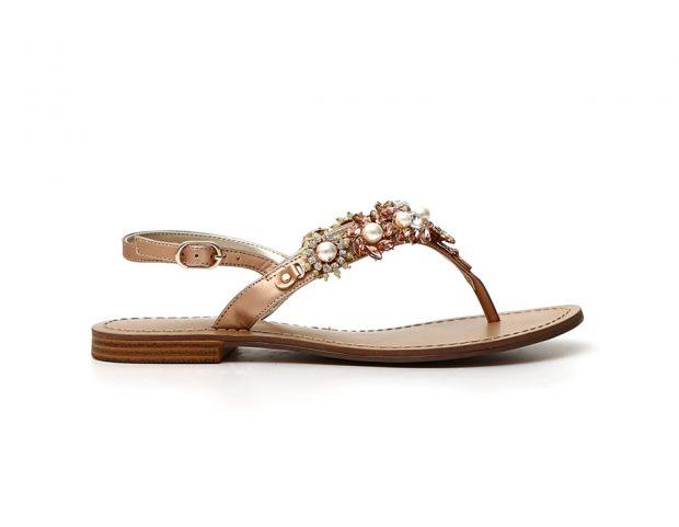 Sandali infradito con strass e perle