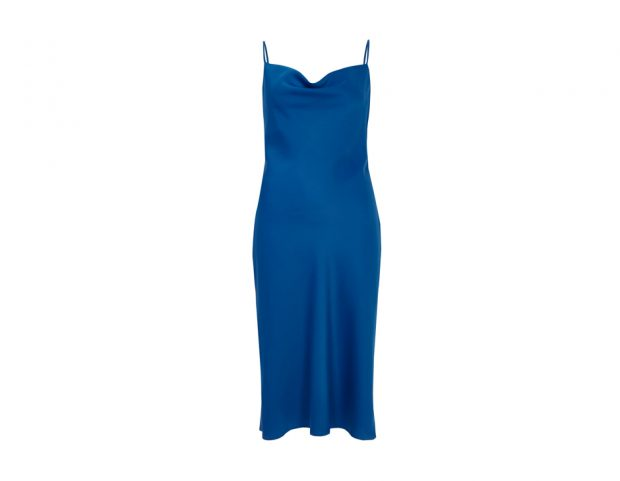 Blue satin cowl neck slip dress
