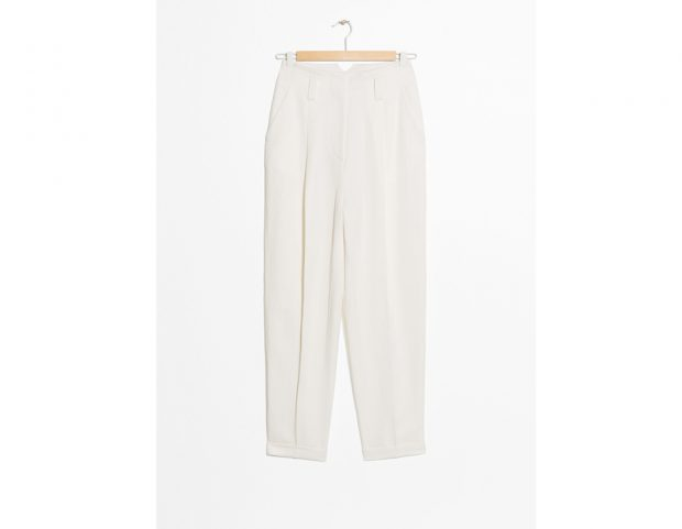 Tapered Linen Blend Trousers