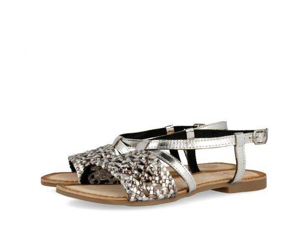 Sandali di pelle argentata