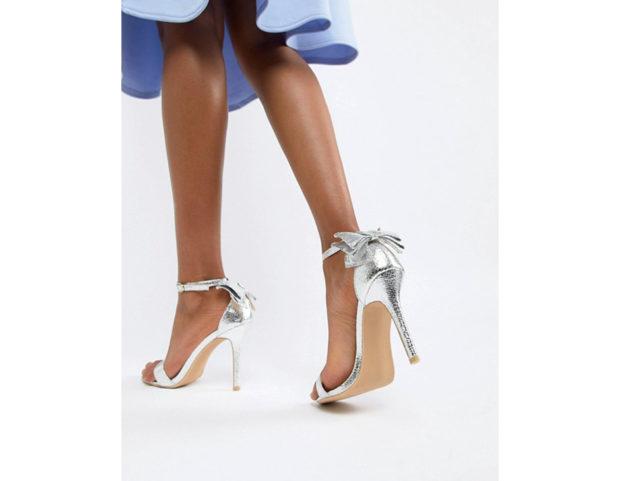 Sandali silver con fiocchetti