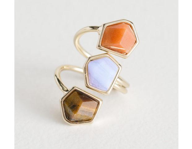 Anello triplo con pietre