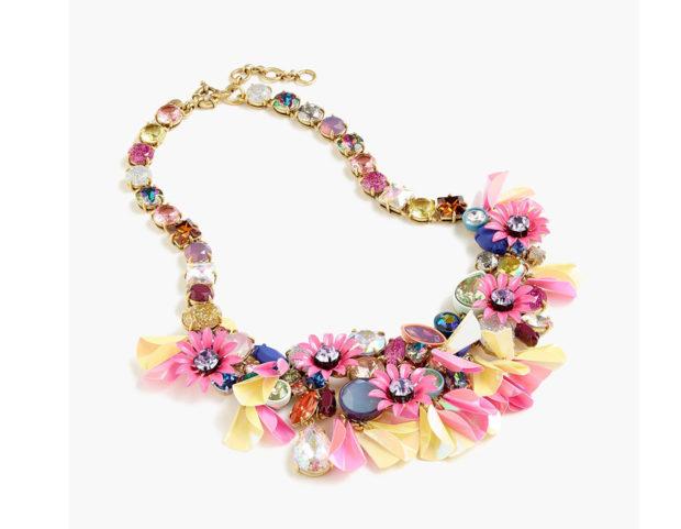 Collana con strass e fiori