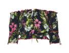 Navy floral bardot beach top