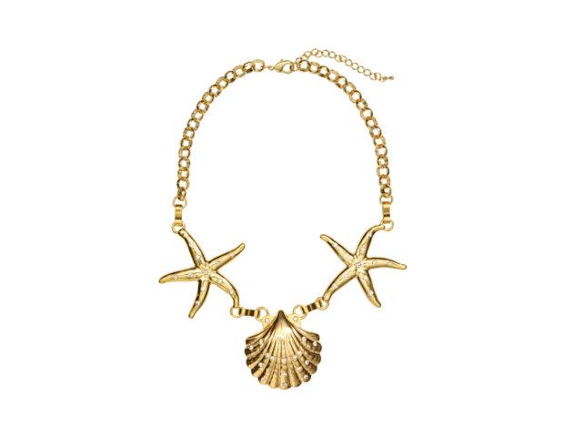 Collana corta con stelle marine e conchiglie