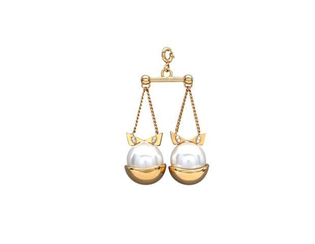 Ciondolo Zodiac in oro, con perle e cristalli