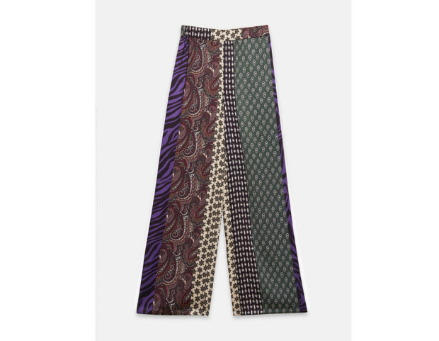 Pantaloni patchwork in raso