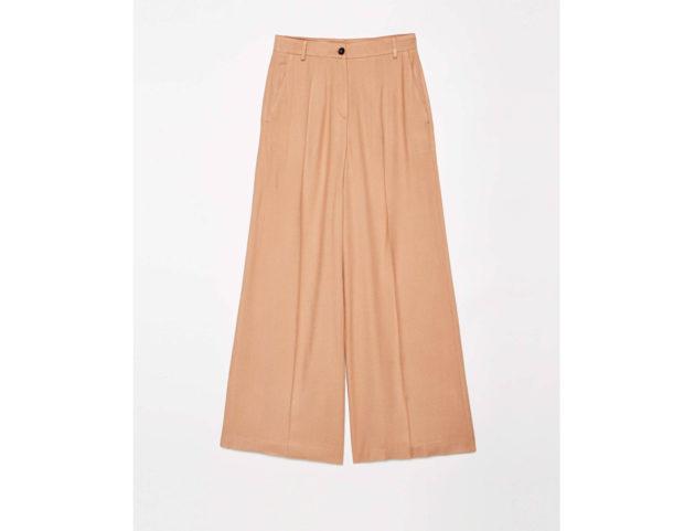 Pantaloni a palazzo color cammello