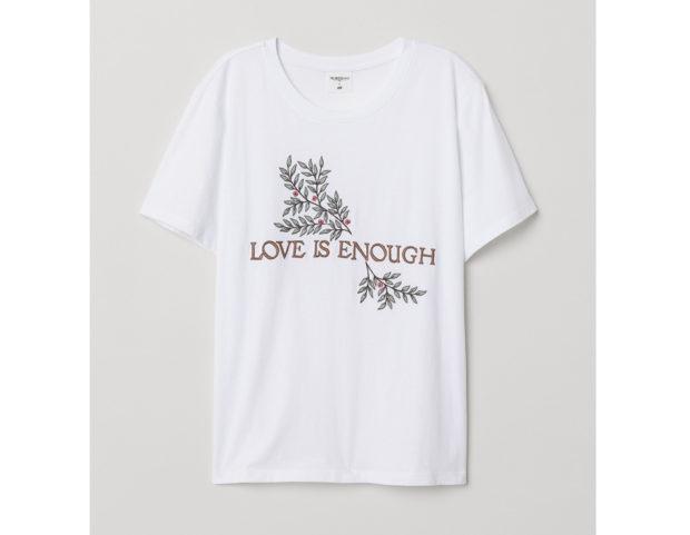 T-shirt con scritta e ricamo