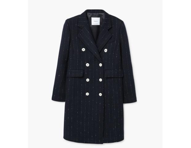 Cappotto in doppia lana gessato