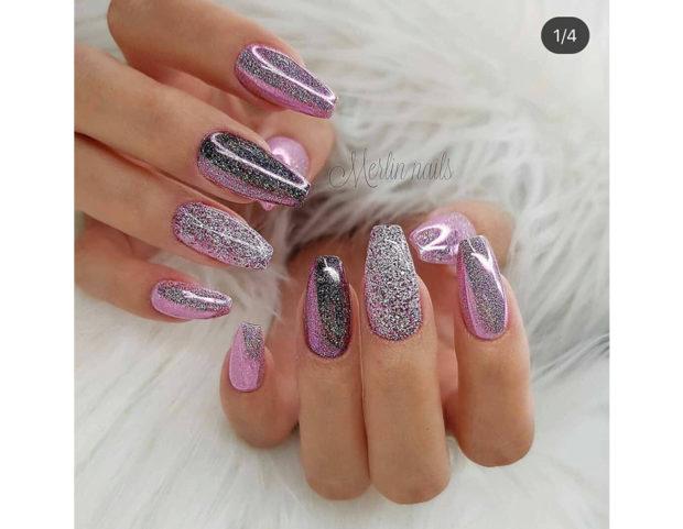 Manicure rosa sparkling