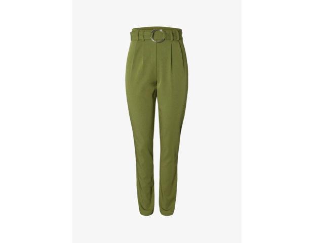 Pantaloni vita alta con cintura e fibbia in metallo