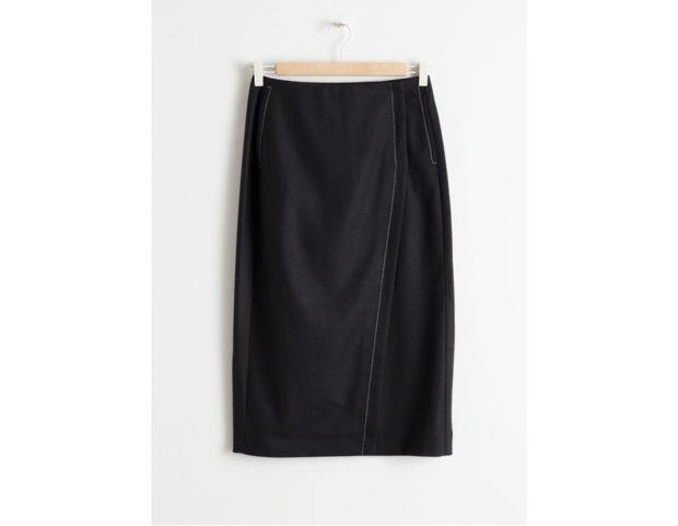 Wool Blend Midi Pencil Skirt