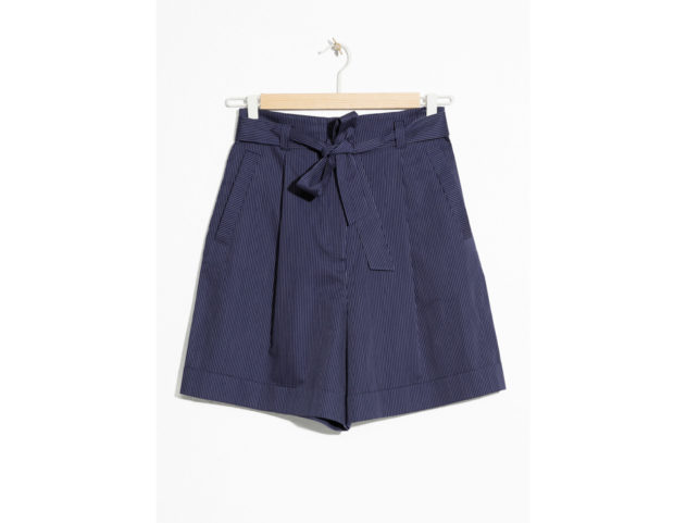 Belted Pinstripe Shorts