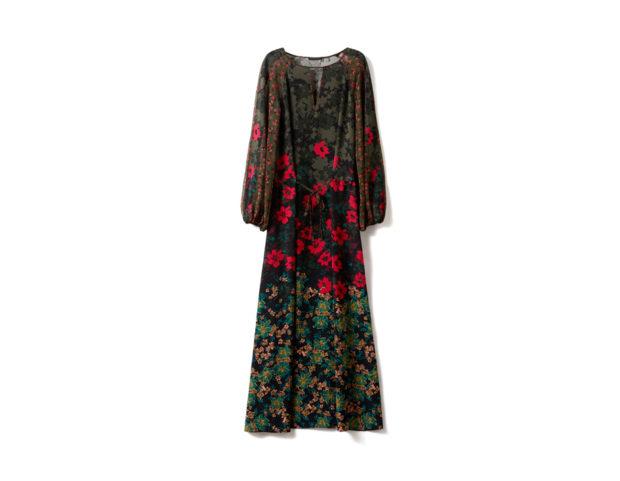 Vestito lungo a fiori con coulisse